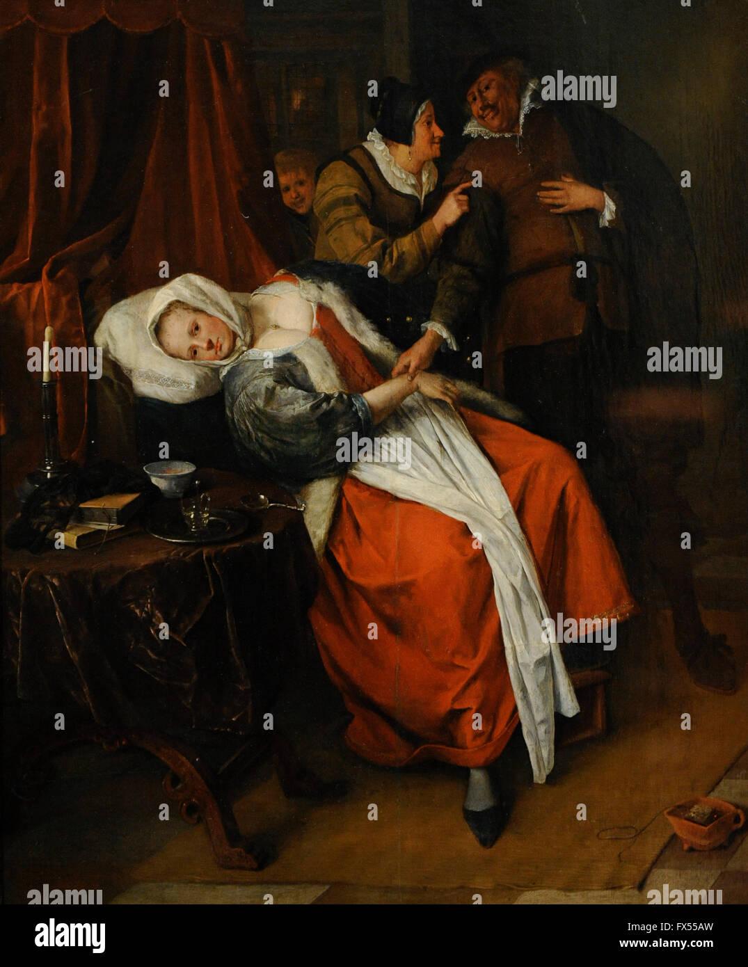 Jan Havickszoon Steen (1626-1679). Dutch painter. Doctor's Visit, c.1660. The State Hermitage Museum. Saint Petersburg. Stock Photo