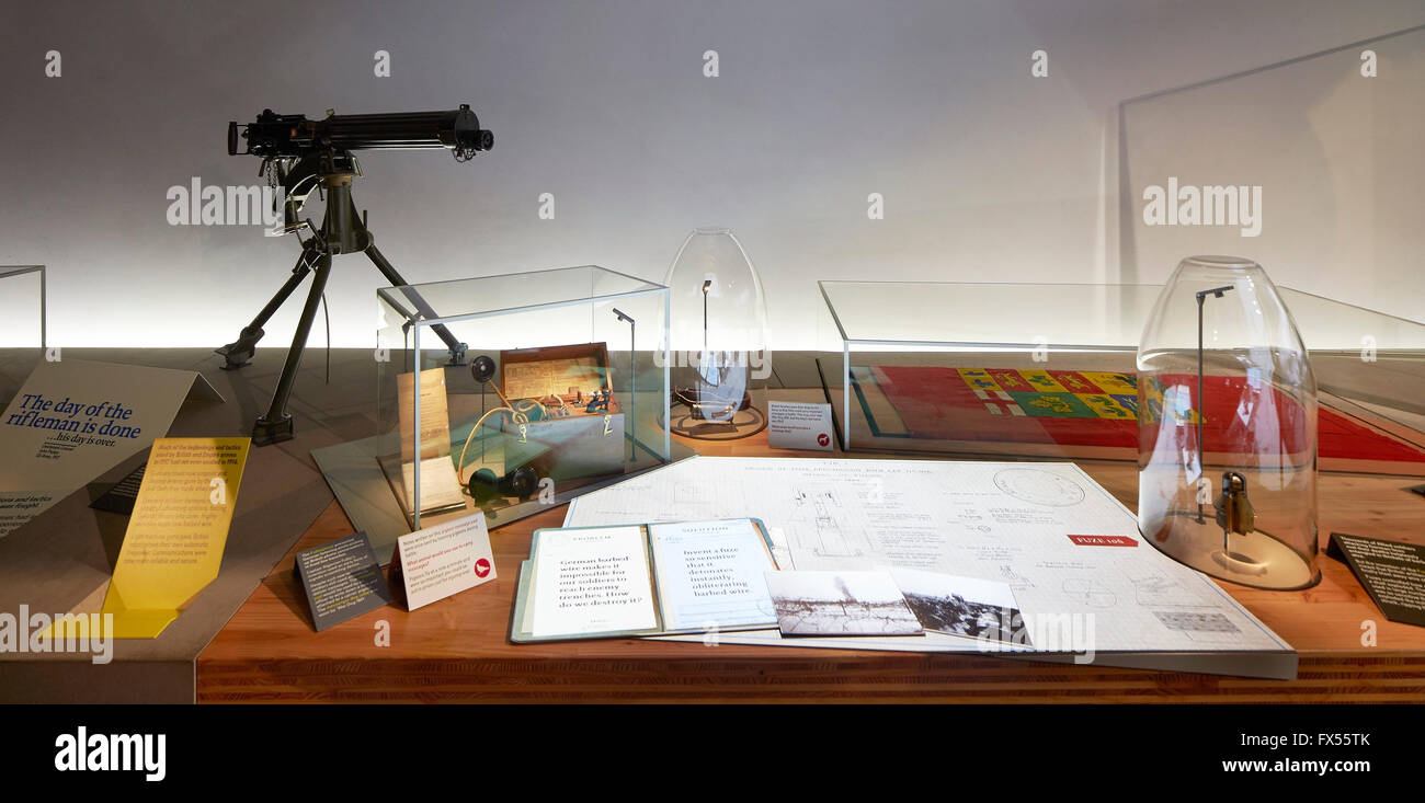 Exhibition tableau. Imperial War Museum, London, United Kingdom. Architect: Casson Mann, 2015. - Stock Image