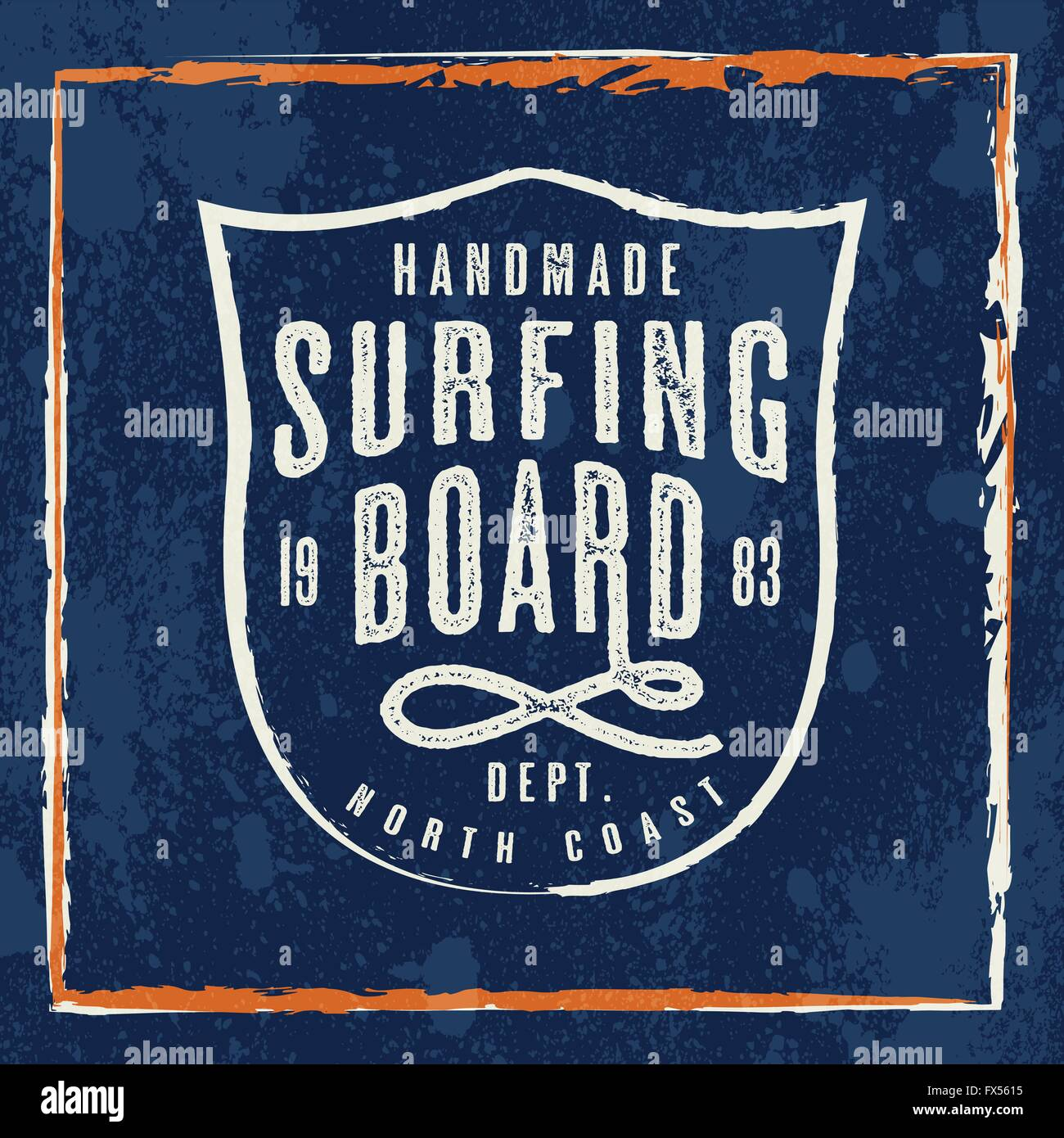 Handmade Surfing Board print for apparel. Retro shield graphic for fashion and printing. Design with old school - Stock Vector