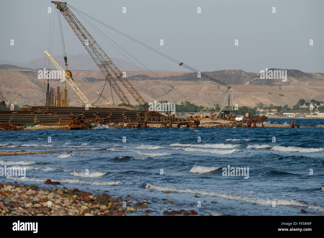 DJIBOUTI Tadjourah, construction of new port by chinese company BAO YE HUBEI Construction Engineering Group, the - Stock Image