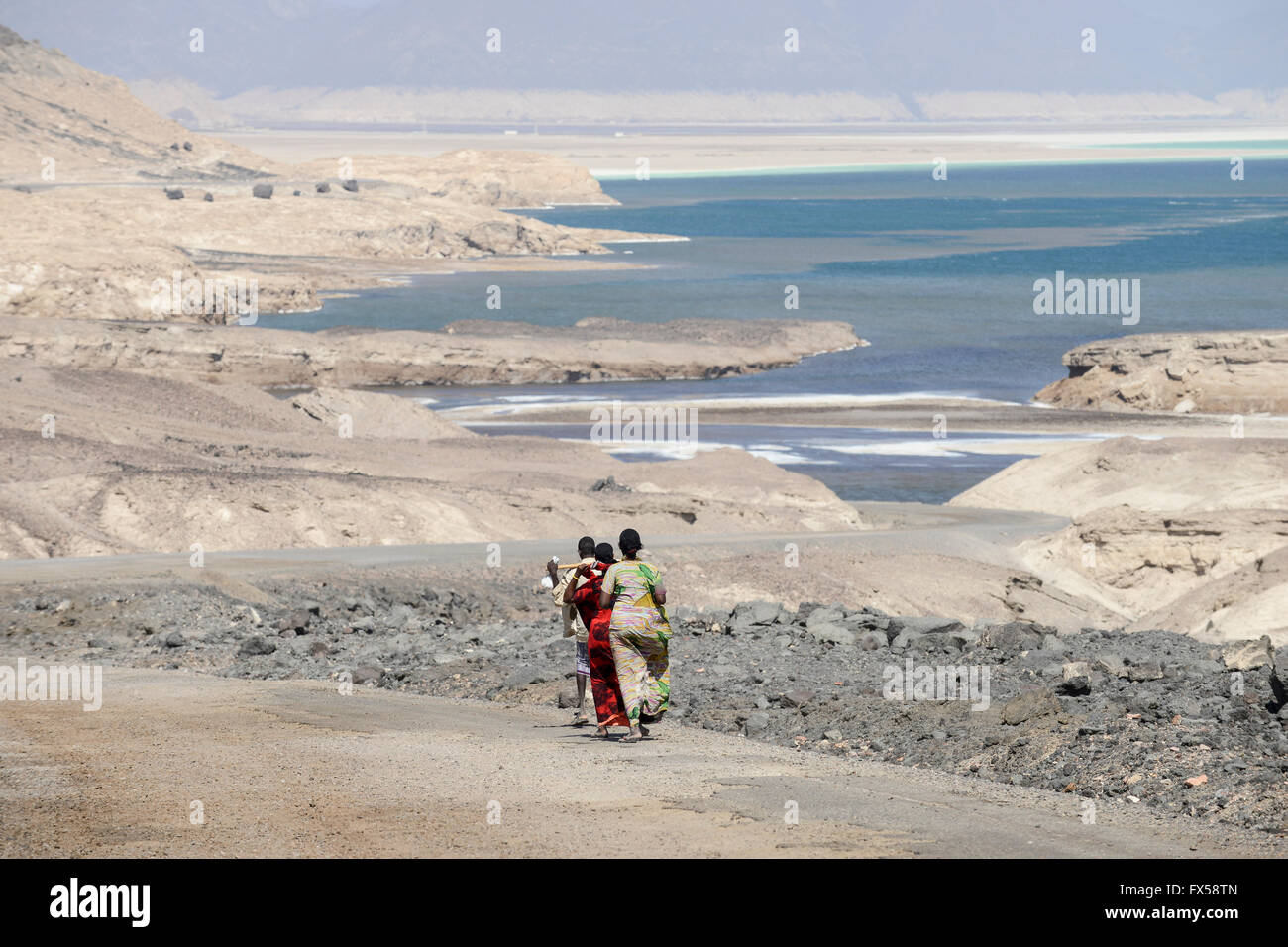 DJIBOUTI salt lake Lac Assal / DSCHIBUTI, Salzsee Lac Assal - Stock Image