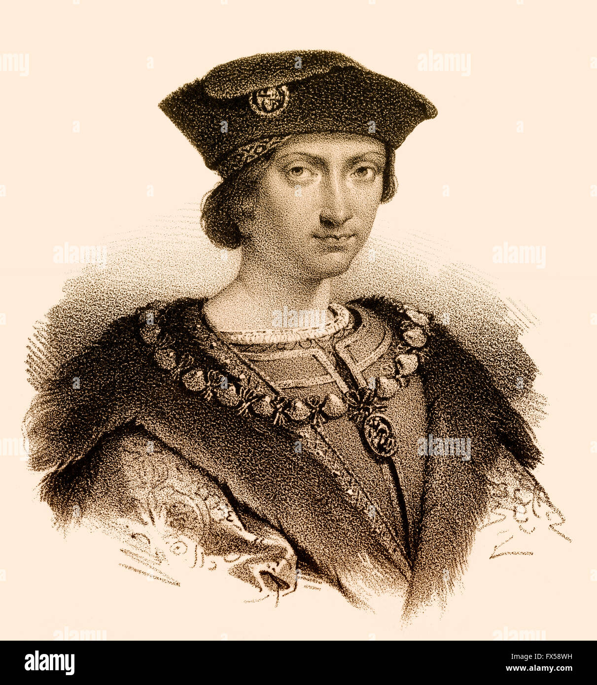Charles VIII, Karl VIII., called the Affable, 1470-1498, King of France - Stock Image