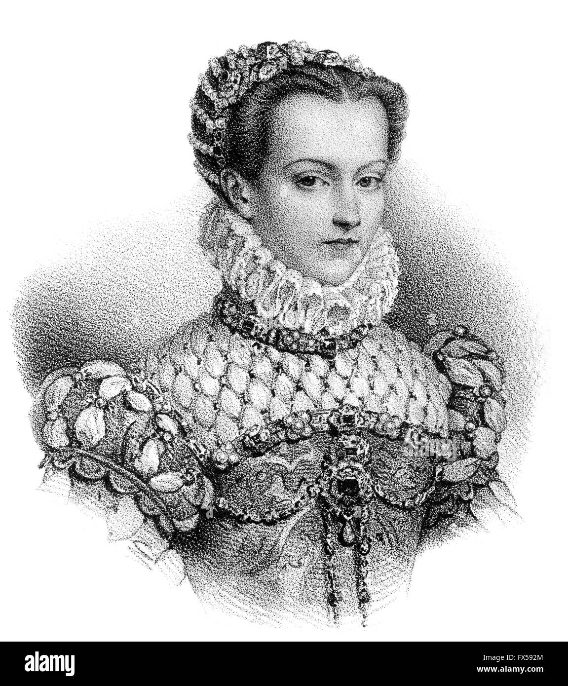Elisabeth of Austria, 1554-1592, Queen of France as the wife of King Charles IX - Stock Image
