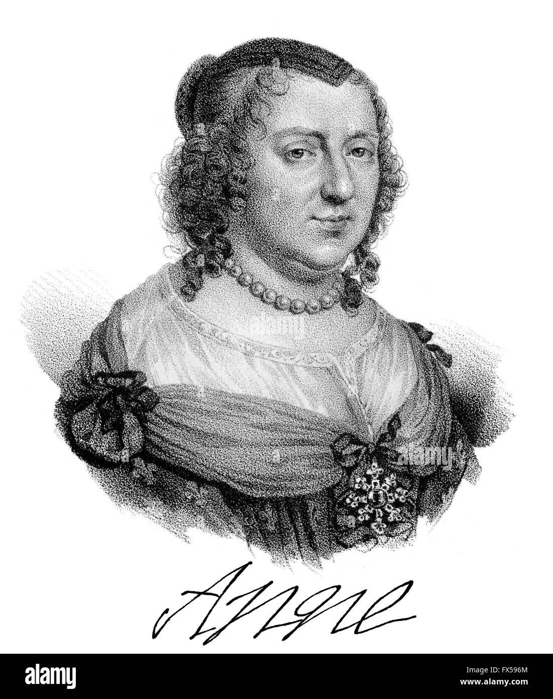 Anne of Austria, Anne d'Autriche, Anna Maria Mauricia von Spanien, 1601-1666, queen consort of France and Navarre - Stock Image
