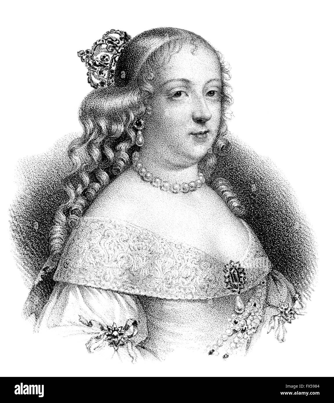 Maria Theresa of Spain, Marie-Thérèse, Maria Theresia María Teresa, 1638-1683, Queen of France and Navarre as the Stock Photo