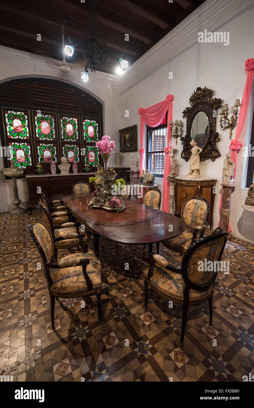 Dining Room in the Peranakan Mansion, George Town, Penang - Stock Image