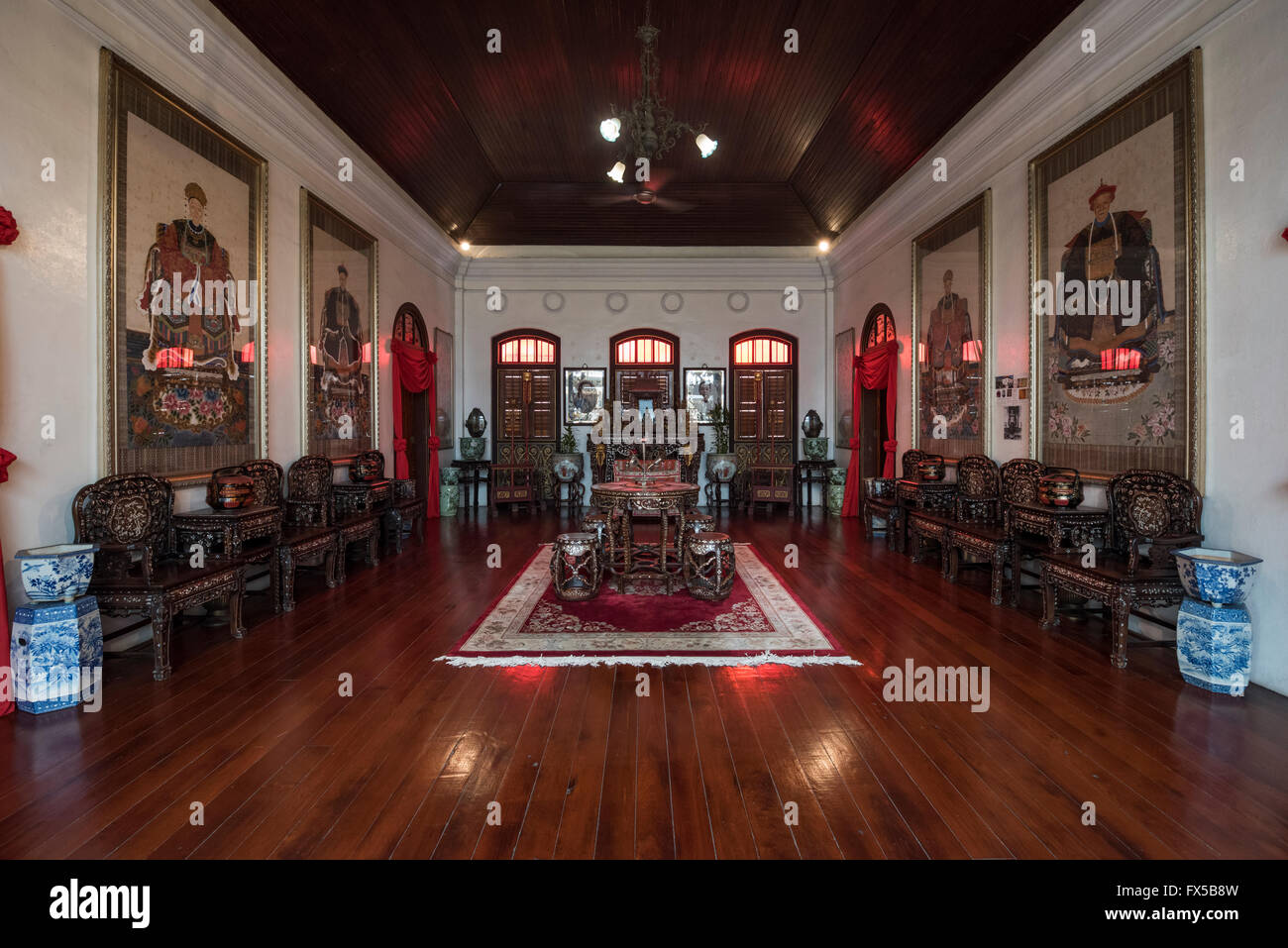 2nd Floor Lobby in the Peranakan Mansion, George Town, Penang - Stock Image