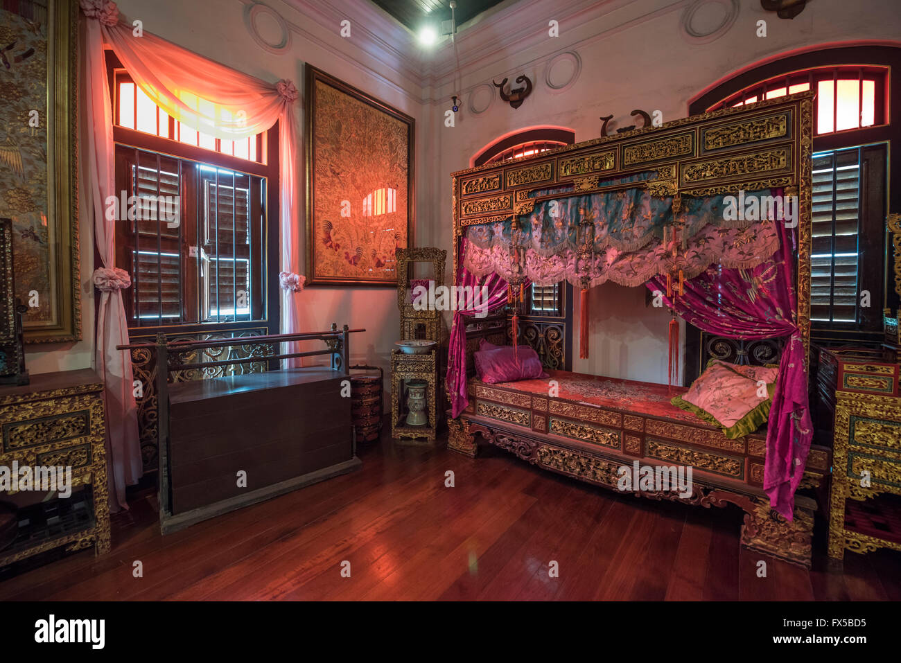 Bedroom in the Peranakan Mansion, George Town, Penang - Stock Image