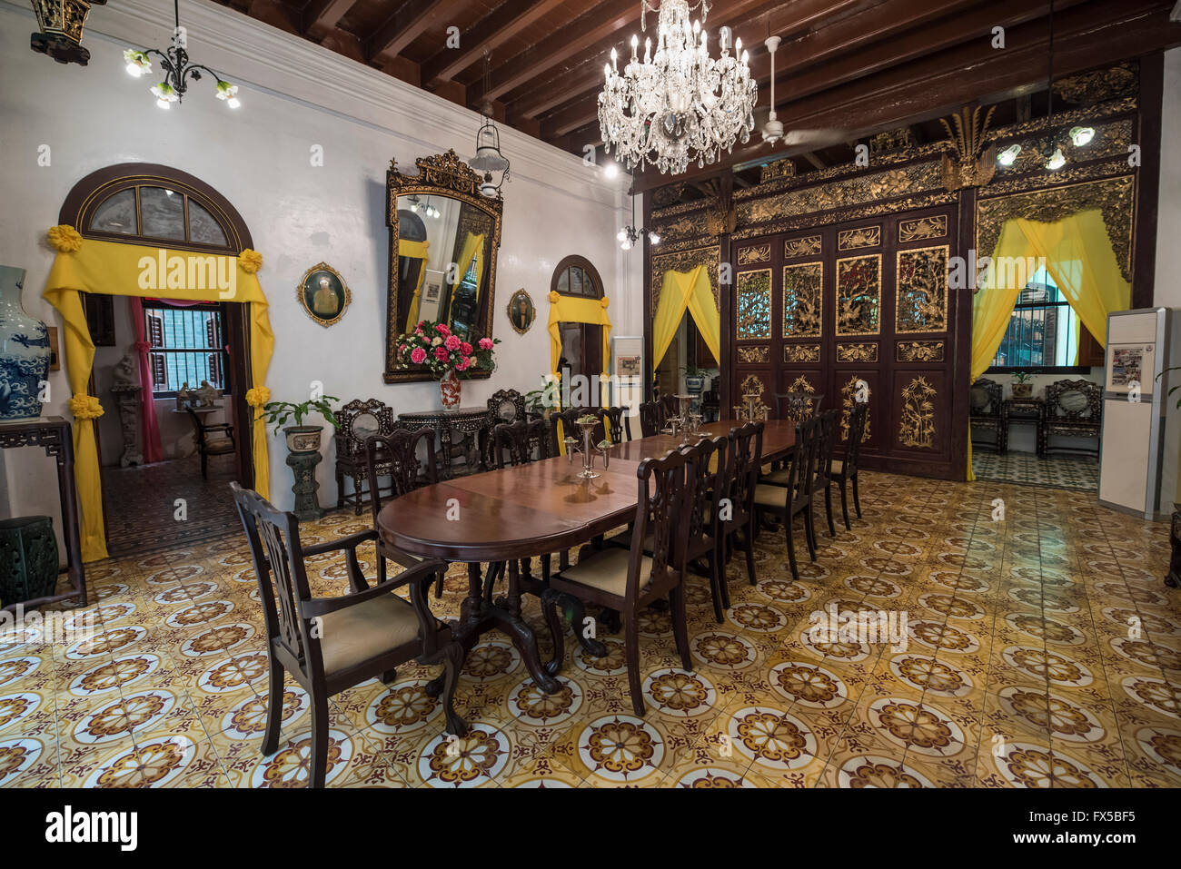 Main Dining Room in the Peranakan Mansion, George Town, Penang - Stock Image