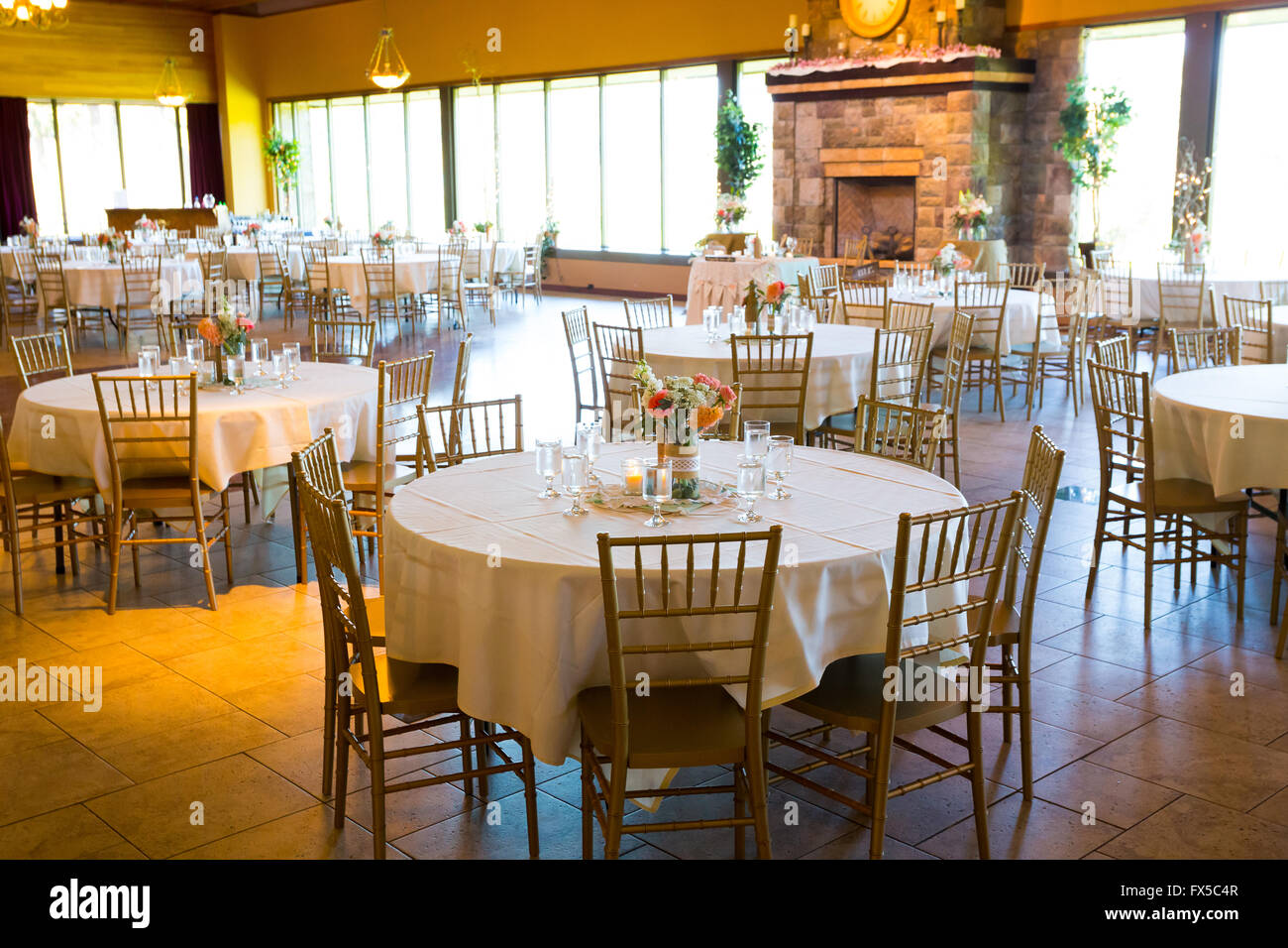 Tables and seating for an indoor wedding reception in a craftsman tables and seating for an indoor wedding reception in a craftsman style event hall junglespirit Choice Image
