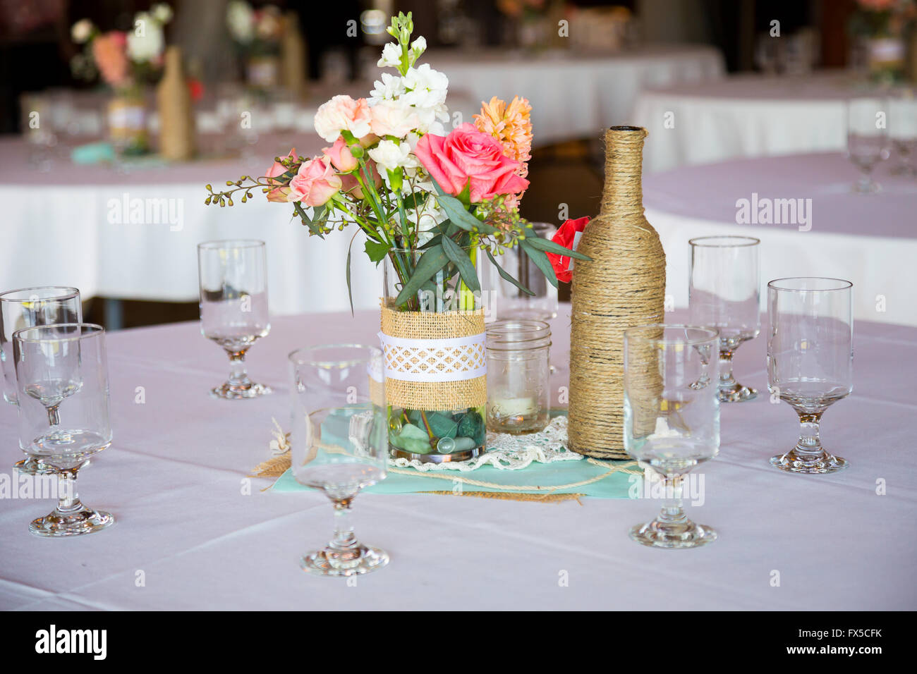 Diy Wedding Decor Table Centerpieces With Wine Bottles Wrapped In