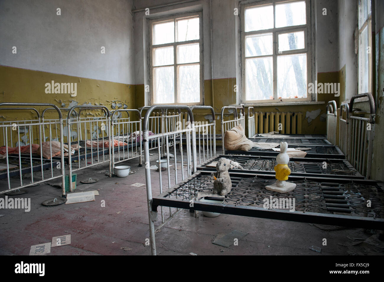 Kindergarten/nursery the abandoned city of Pripyat, Ukraine. Pripyat was abandoned following the Chernobyl nuclear - Stock Image