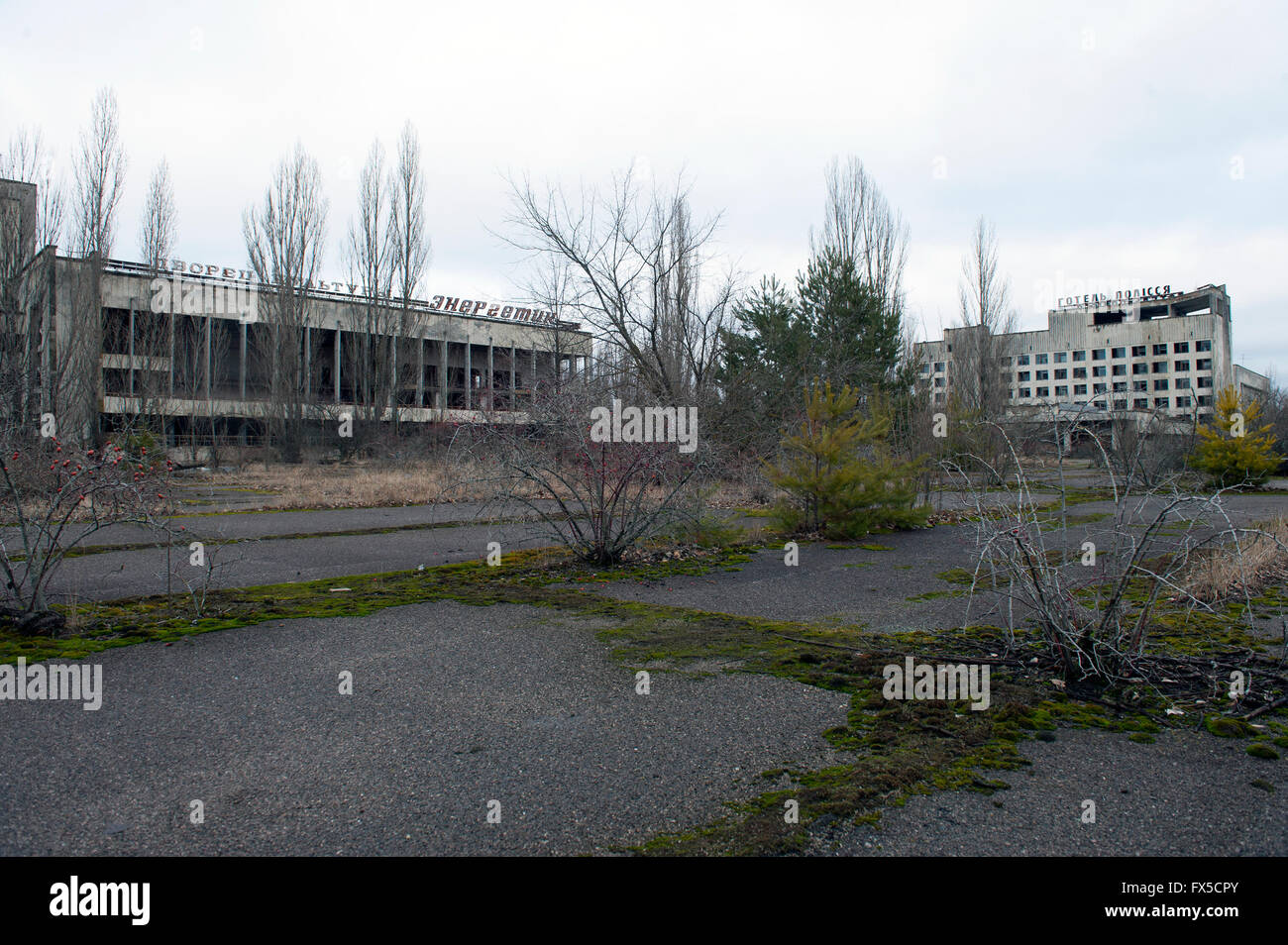 The abandoned city of Pripyat, Ukraine. Pripyat was abandoned following the Chernobyl nuclear disaster. - Stock Image