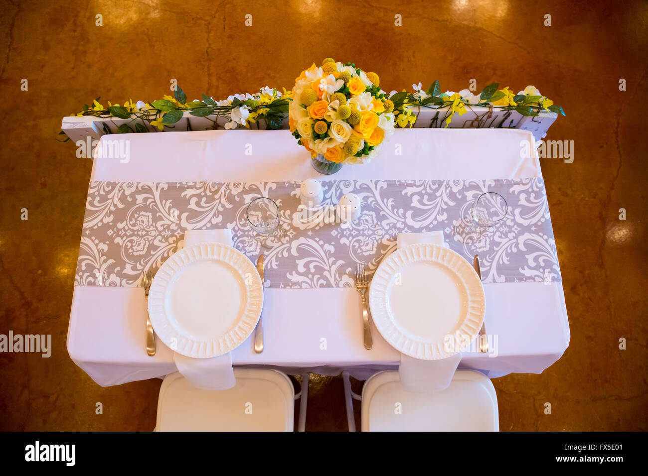 Delightful Wedding Reception Table Setting For The Bride And Groom.
