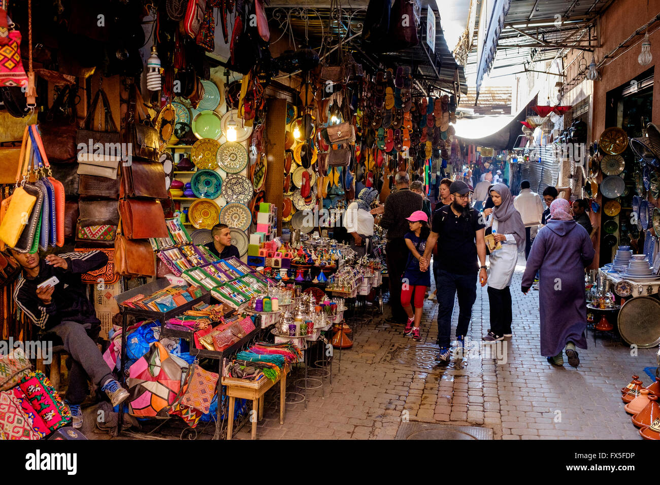 Street scene in a souk in the medina in Marrakech, Morocco, North Africa - Stock Image