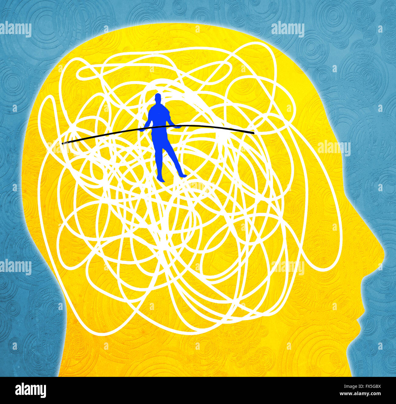 mental disorder concept digital illustration with tightrope walker - Stock Image