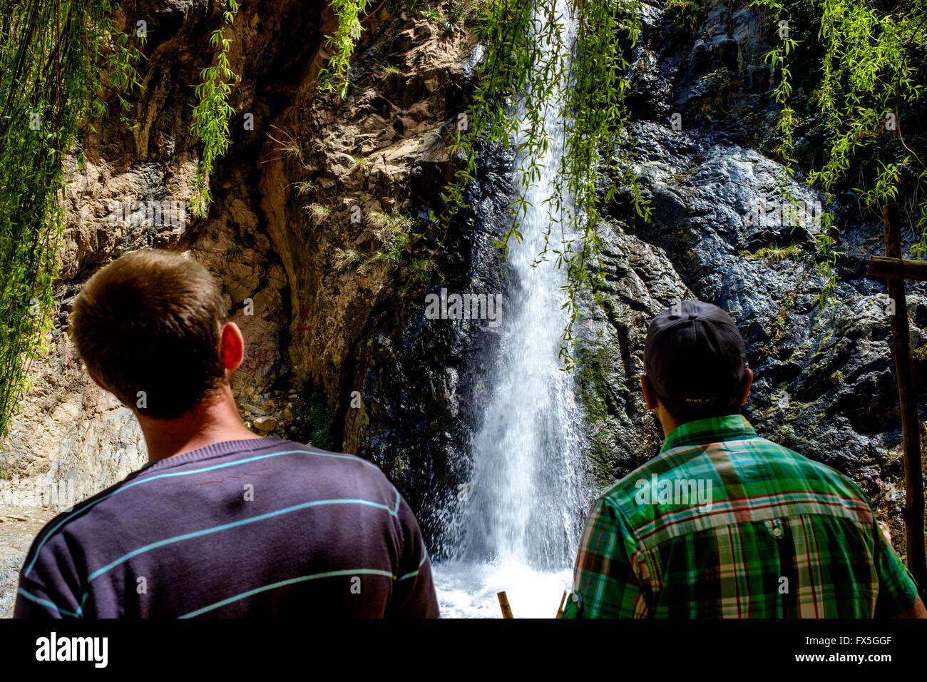 The Setti-Fatma waterfall (Cascades de Setti Fatma or Cascades Ourika) in the Ourika Valley, Morocco, North Africa Stock Photo