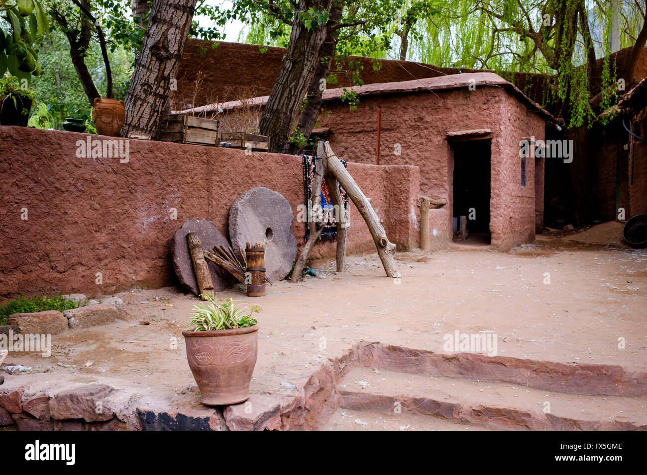 The courtyard of a Berber house in the Ourika Valley, Morocco, North Africa - Stock Image