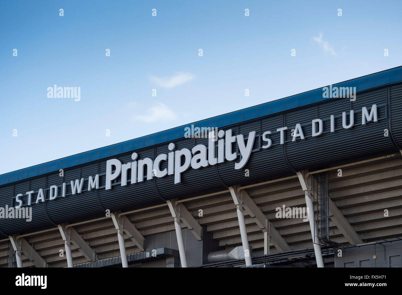 Principality Stadium sign logo in Cardiff, south Wales. - Stock Image