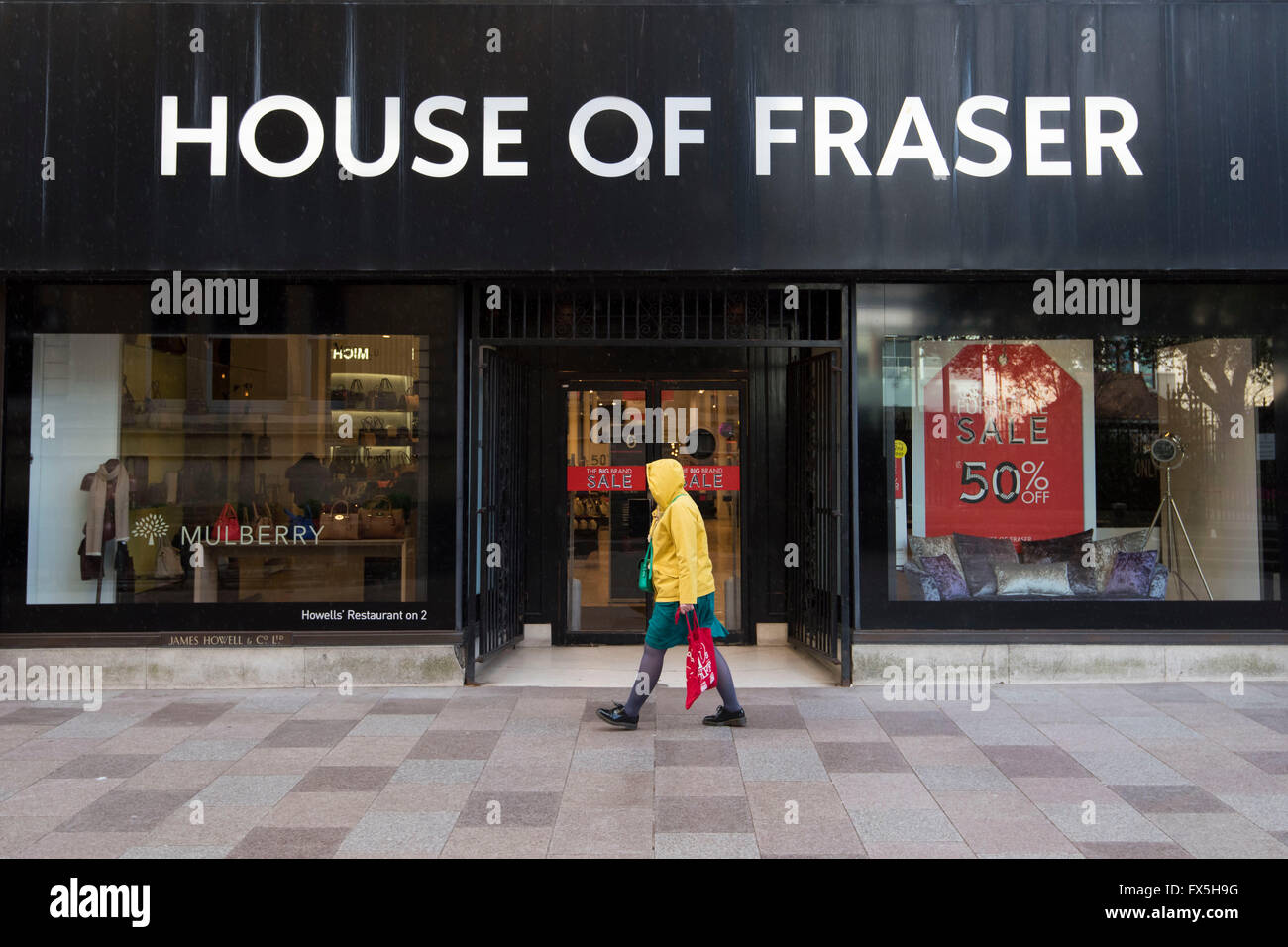 House of Fraser Howells store in Cardiff sign logo. - Stock Image