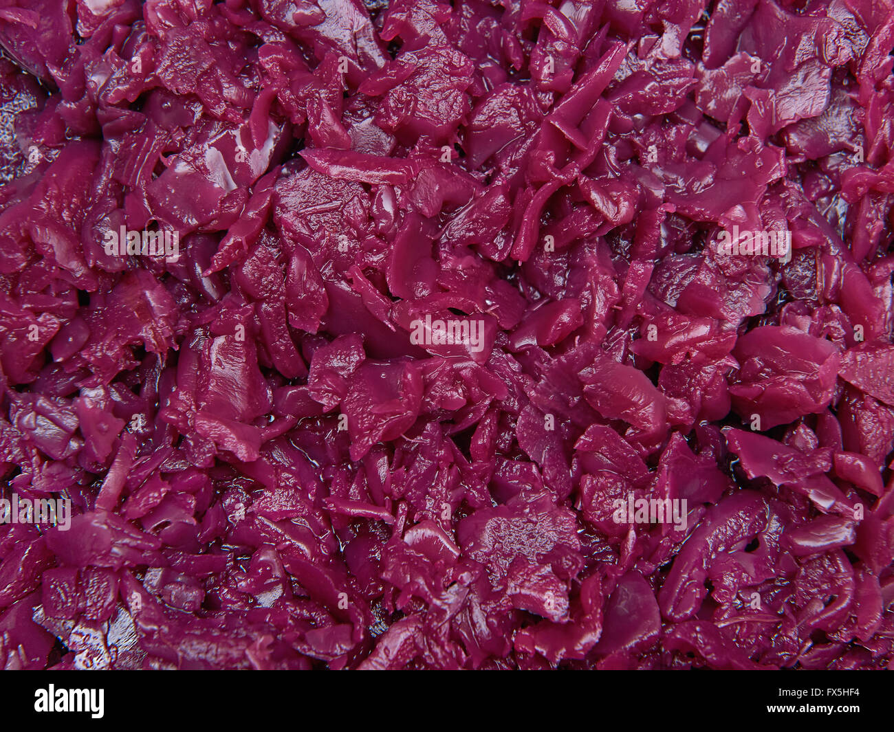 Closeup image of ecological pickled red cabbage - Stock Image