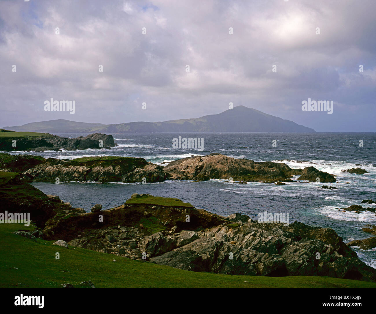 Clare Island from Achill Island , County Mayo, West Coast of Ireland - Stock Image