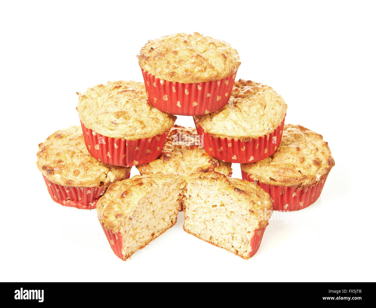 Low calorie muffins isolated on a white background - Stock Image