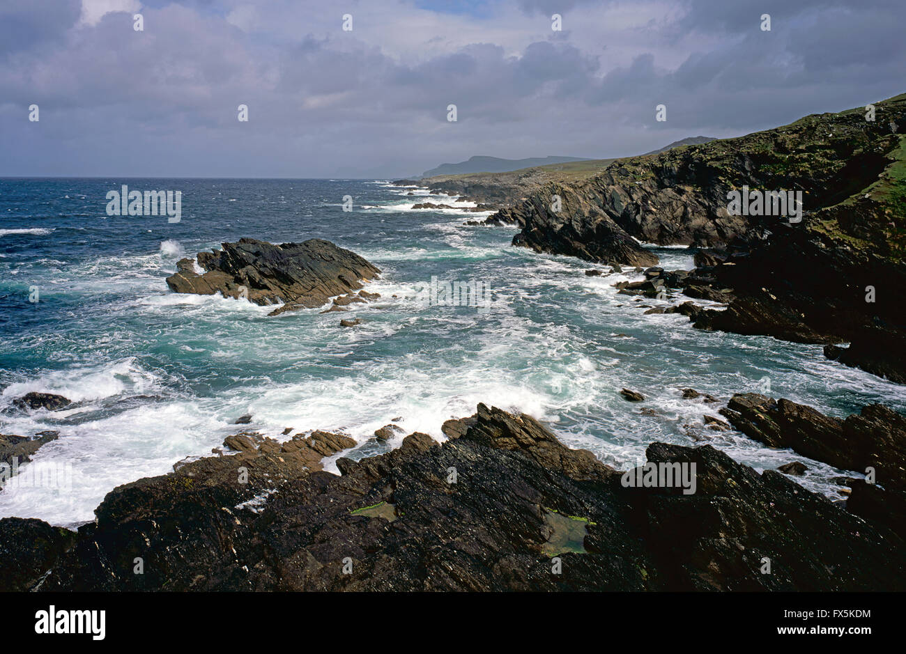 Atlantic seas of Achill Island, County Mayo, West Coast of Ireland - Stock Image
