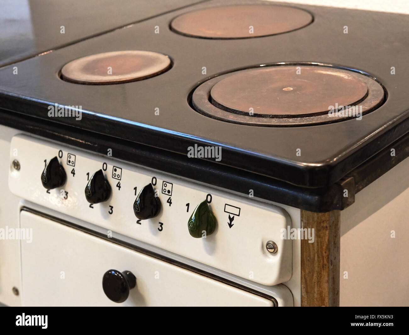 Closeup af a Antique electrical Stove - Stock Image