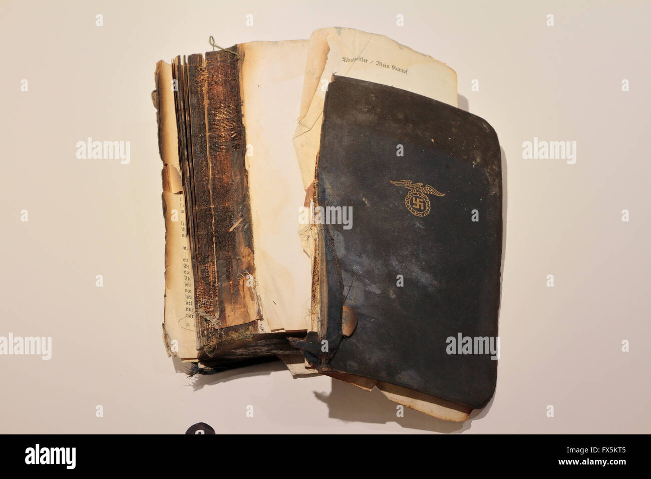A copy of Mein Kampf found in the ruins of Berchtesgaden (Hitlers Eagle's Nest) in 1945 in the Bastogne War - Stock Image