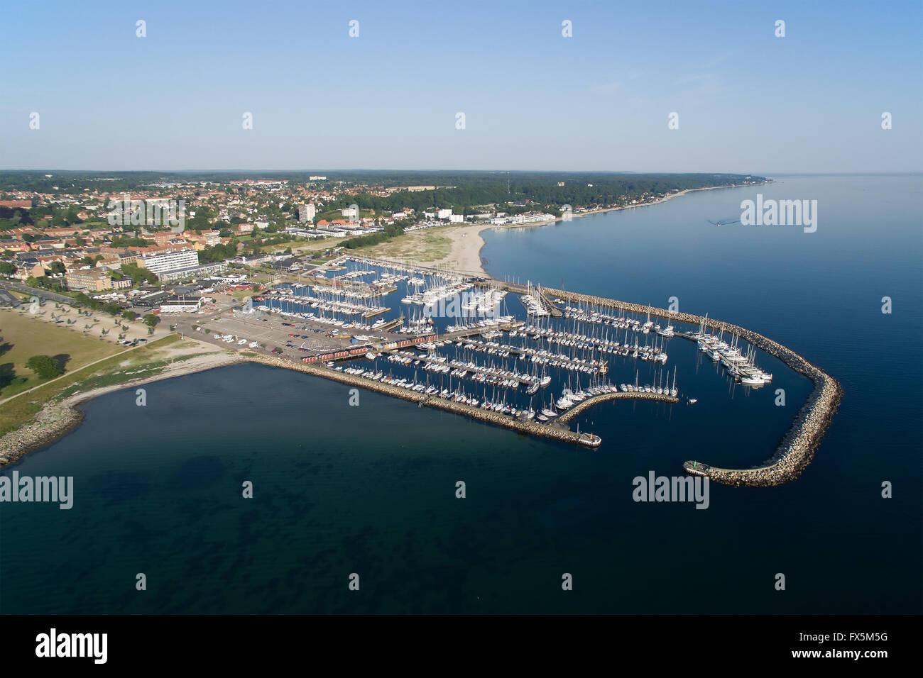 Aerial view of Helsingoer harbour located in zealand, Denmark - Stock Image