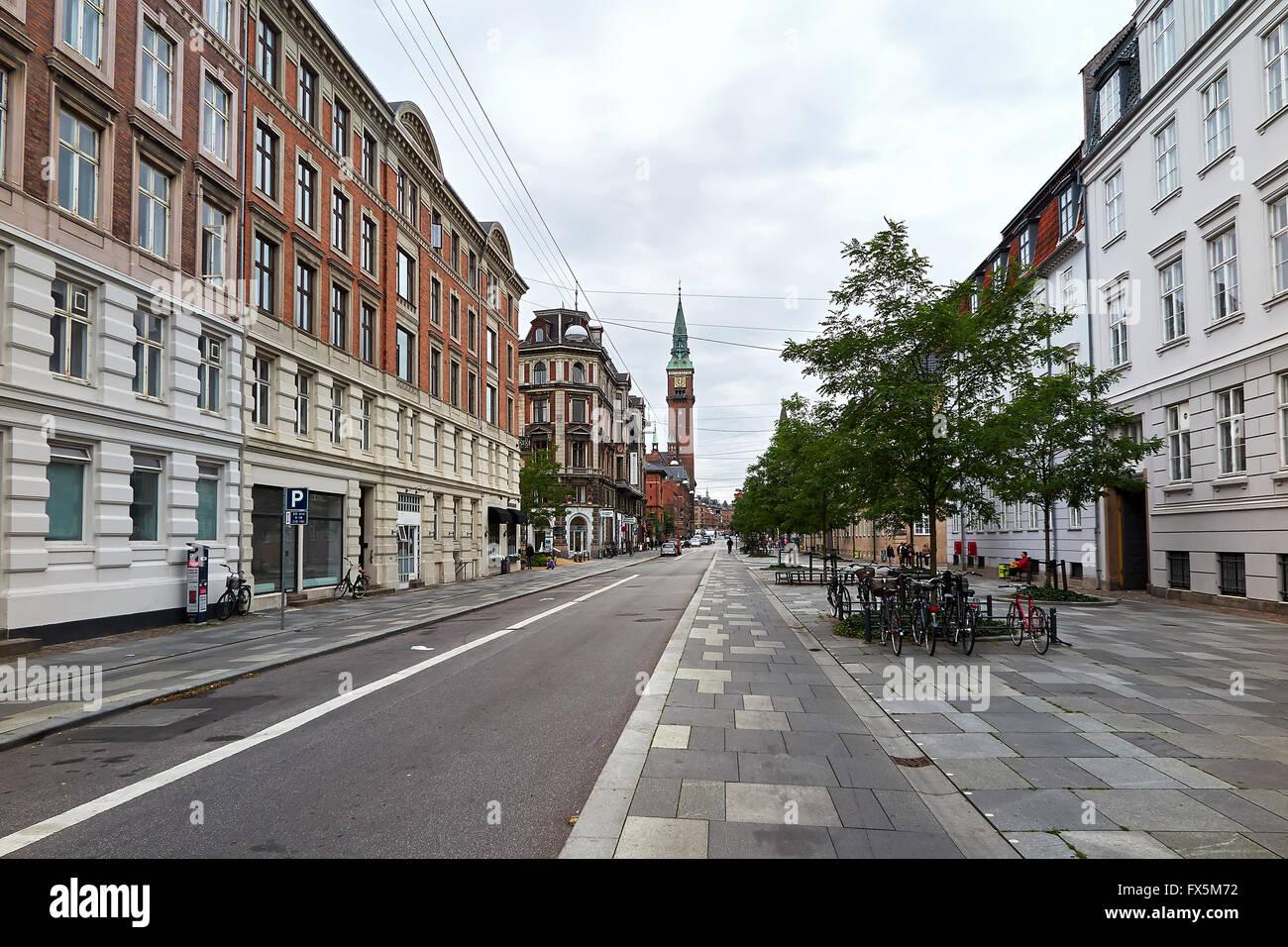 Street view of Vester Voldgade in copenhagen, Denmark - Stock Image