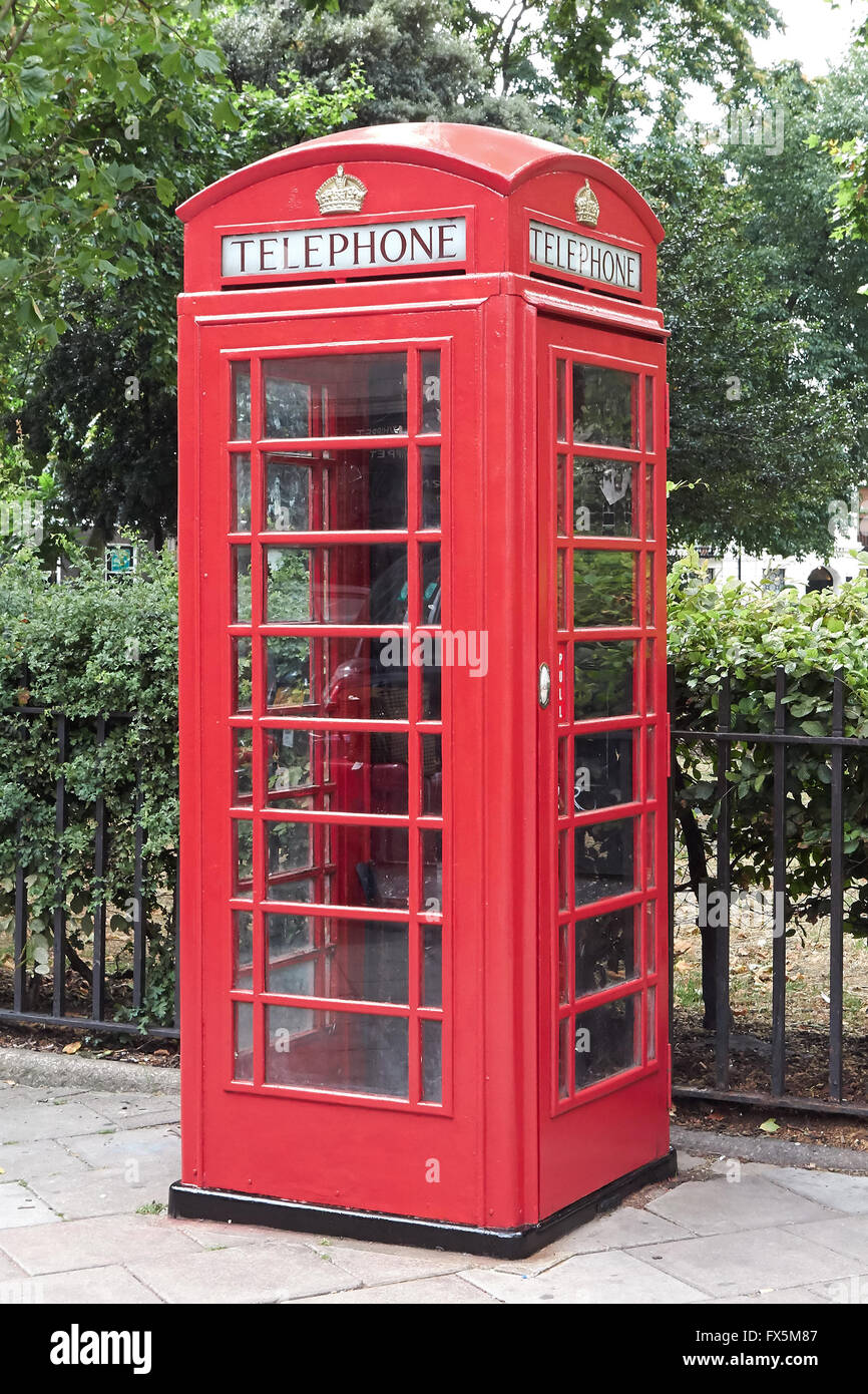 Red telephone box in London the capital of Great Britain - Stock Image