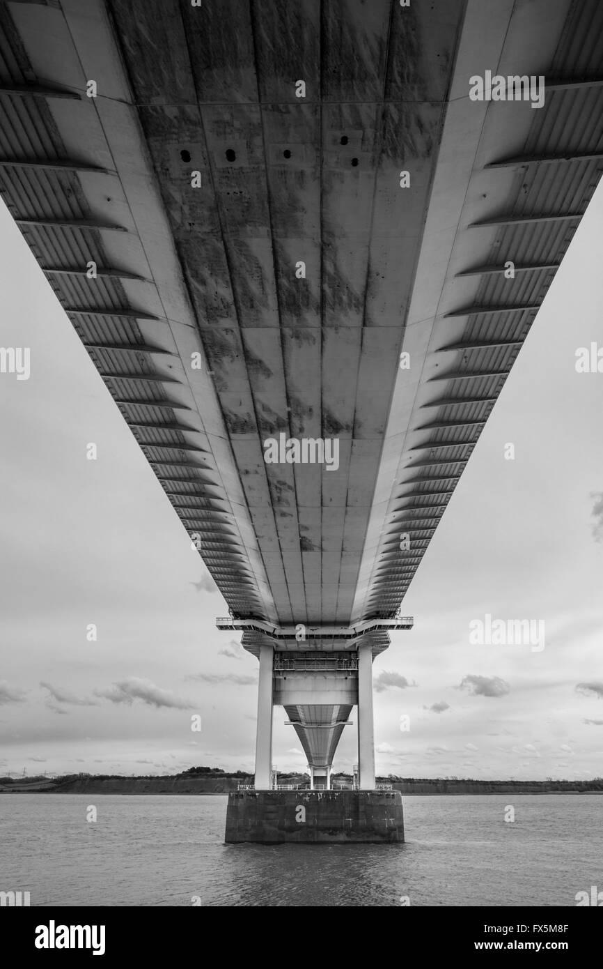 The Severn Bridge from below. - Stock Image