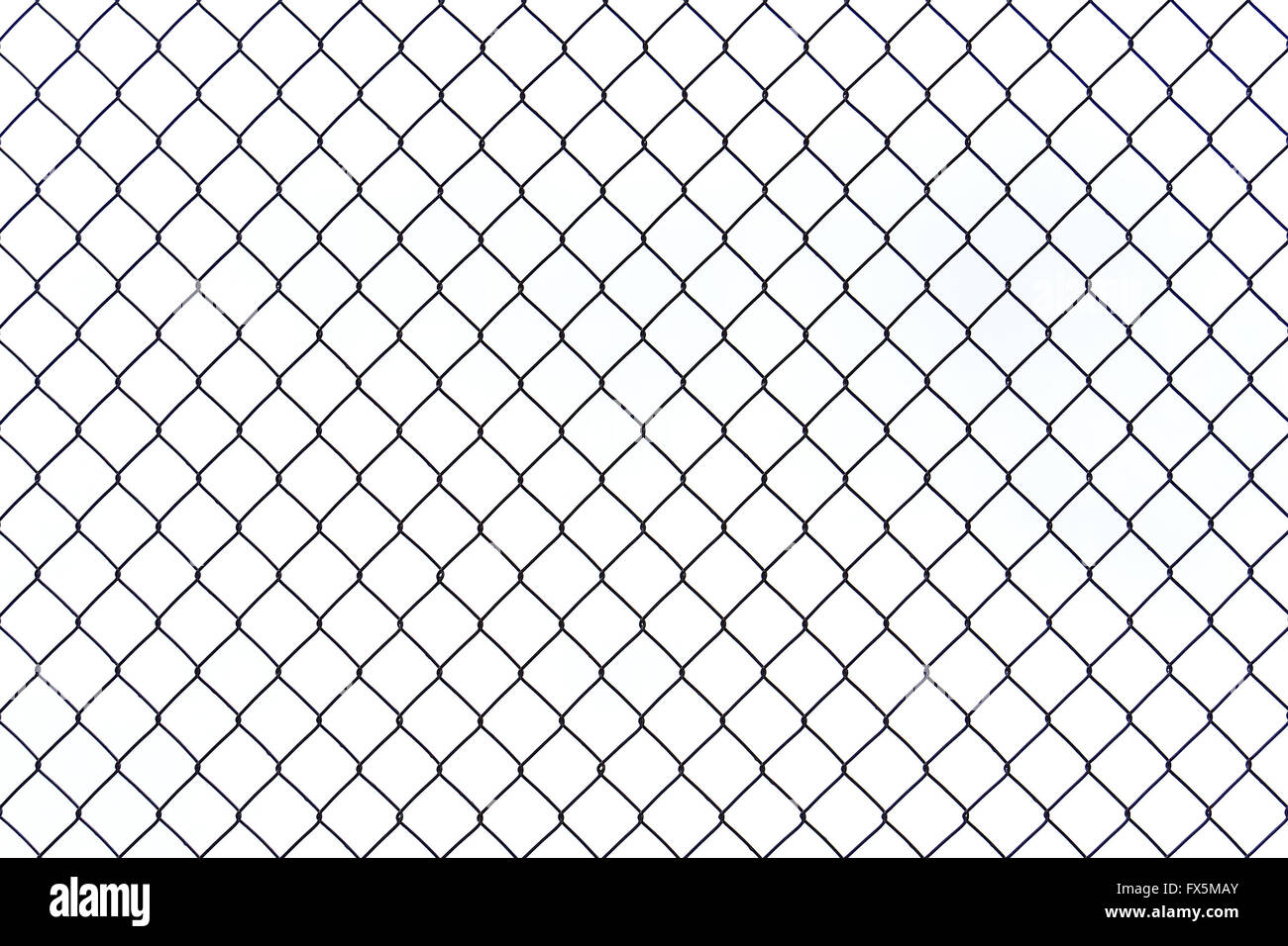 Braid wire fence texture on a white background - Stock Image