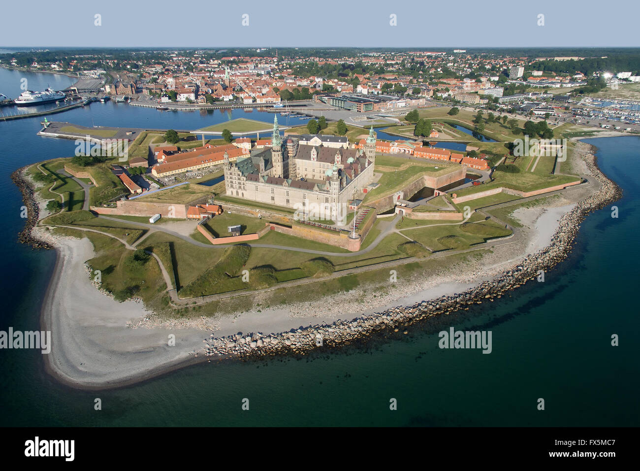 Aerial view of the old castle Kronborg located in Helsingoer, Denmark - Stock Image
