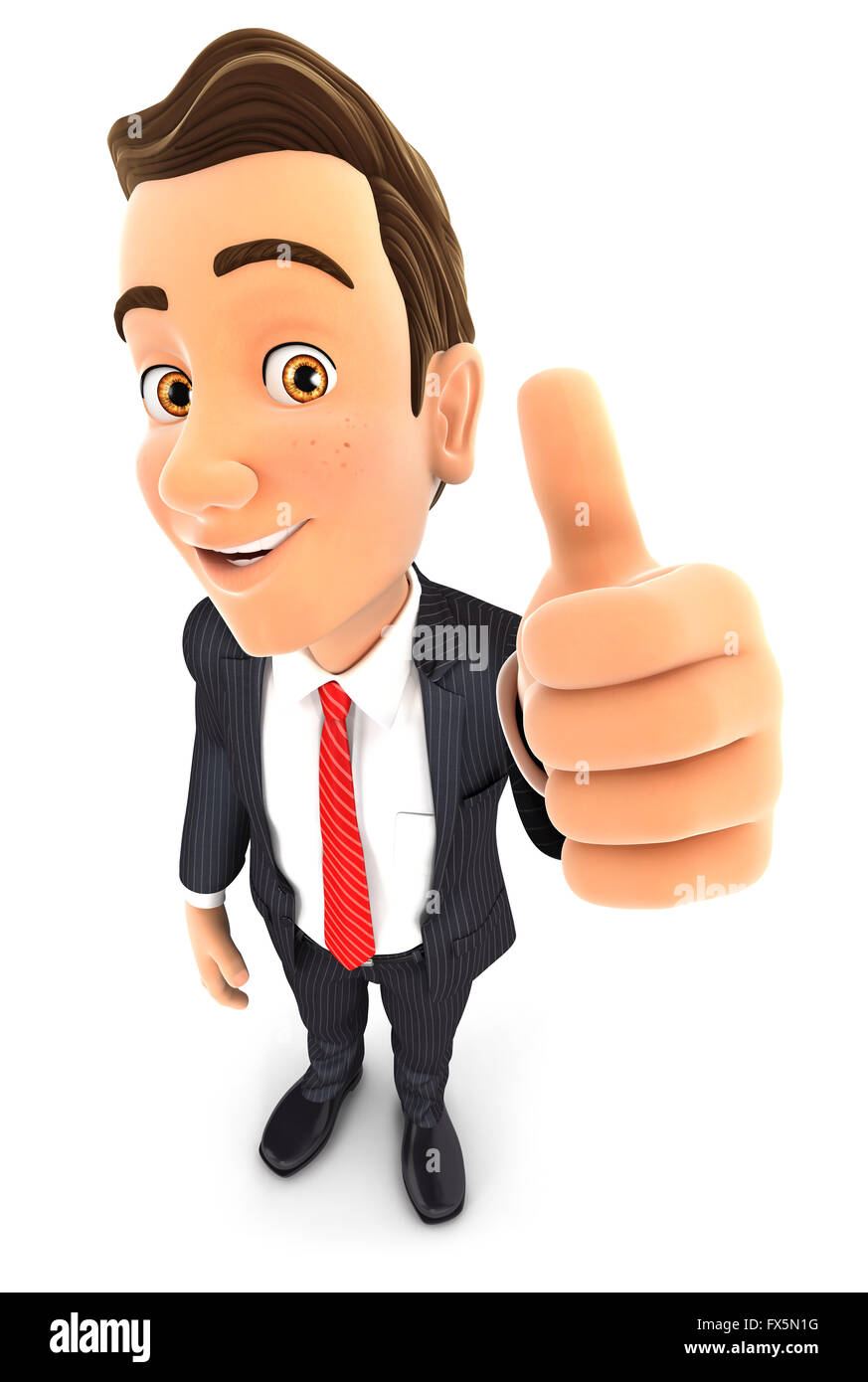 3d businessman positive pose with thumb up, isolated white background Stock Photo