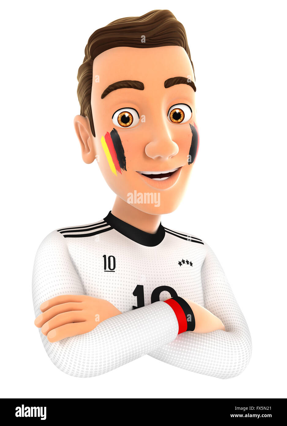 3d german soccer fan with arms crossed, illustration with isolated white background Stock Photo