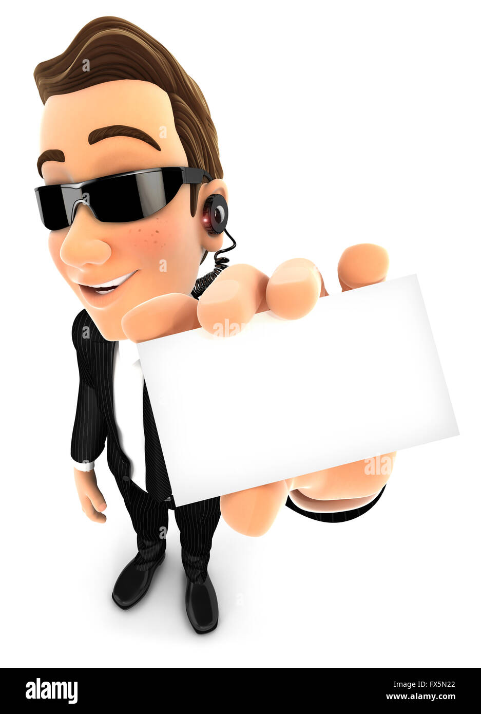 3d security agent holding company card, isolated white background Stock Photo