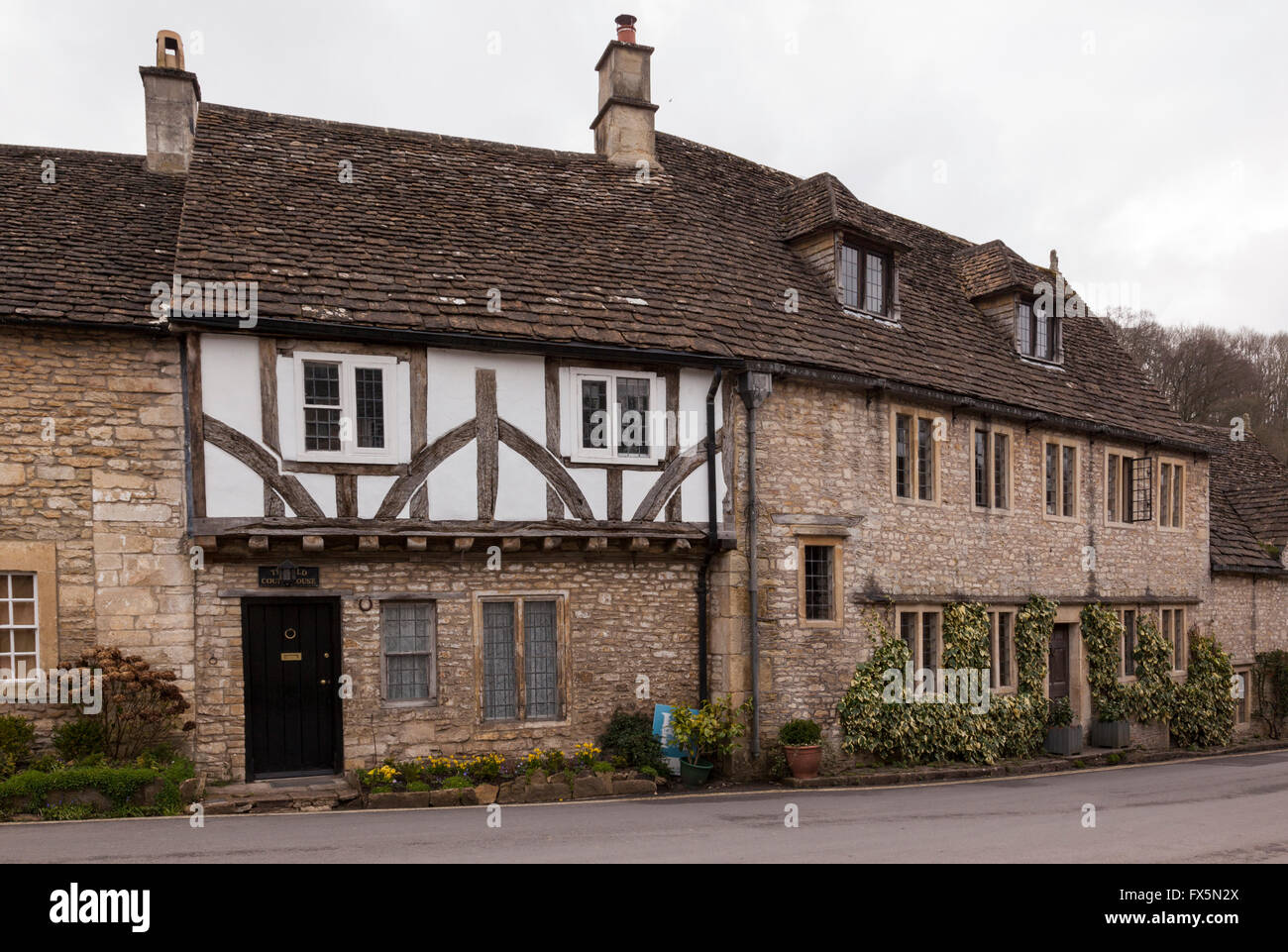 The Old Court House, Market Place, Castle Combe, Wiltshire, England - Stock Image