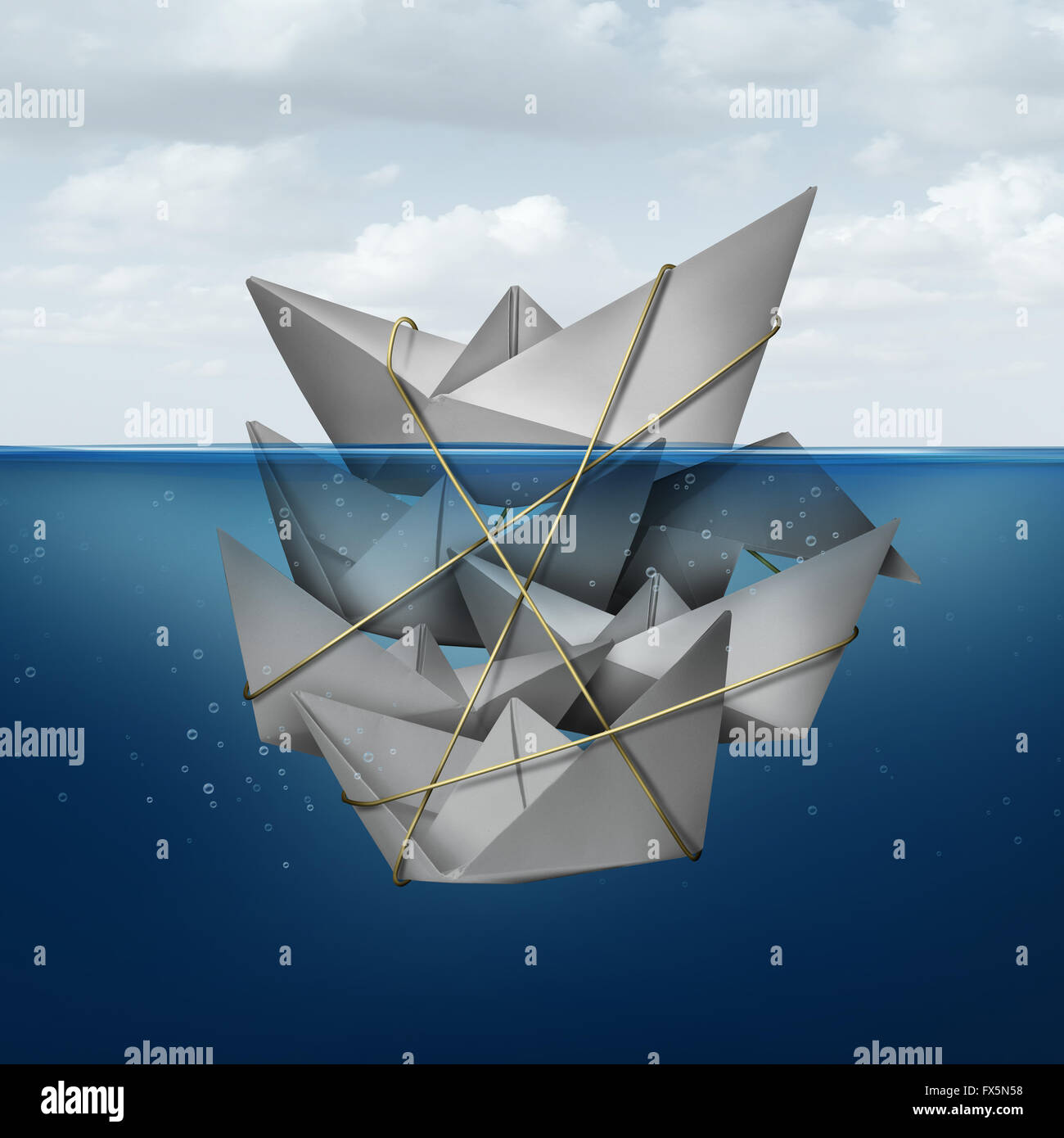 Living off others concept and corner the market symbol as a dominant paper boat dominating a group of smaller boats - Stock Image