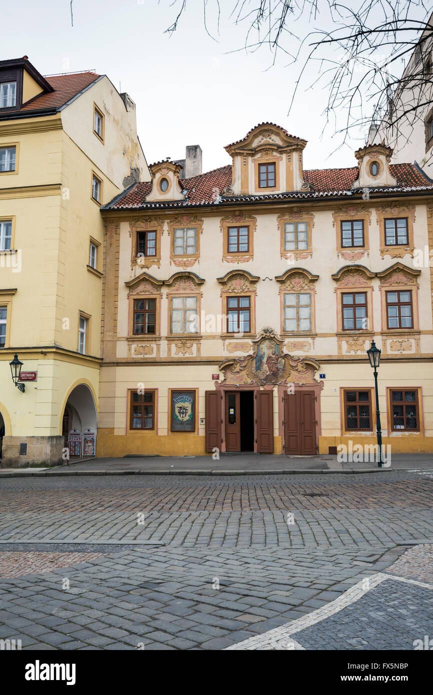 Restaurant U cerneho vola (the black ox), Loretanska street, near prague castle, Prague, Czech republic - Stock Image