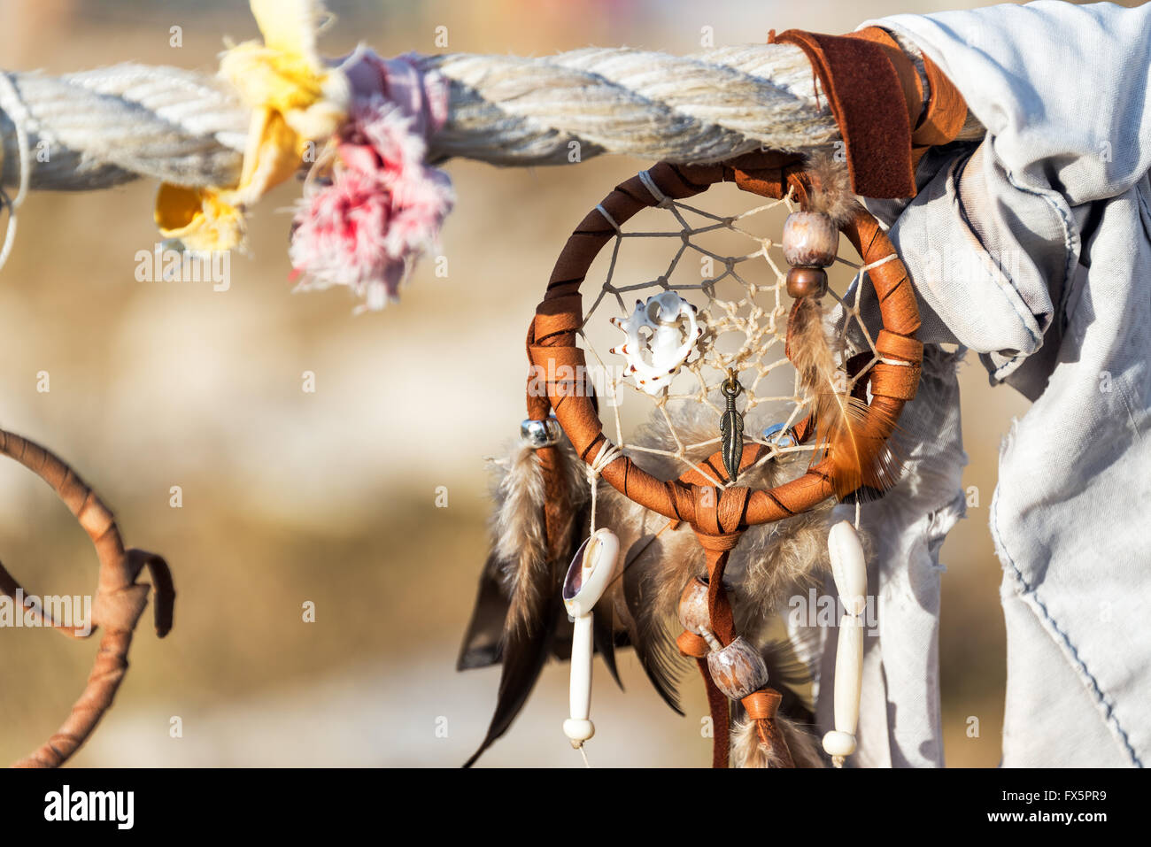 Dreamcatcher at Medicine Wheel National Historic Landmark in Wyoming - Stock Image