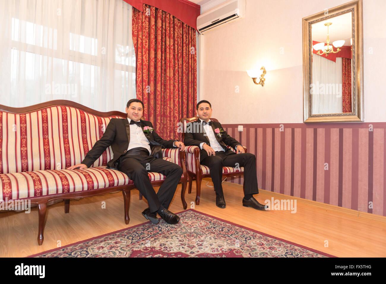 groom and  groomsman in room Stock Photo
