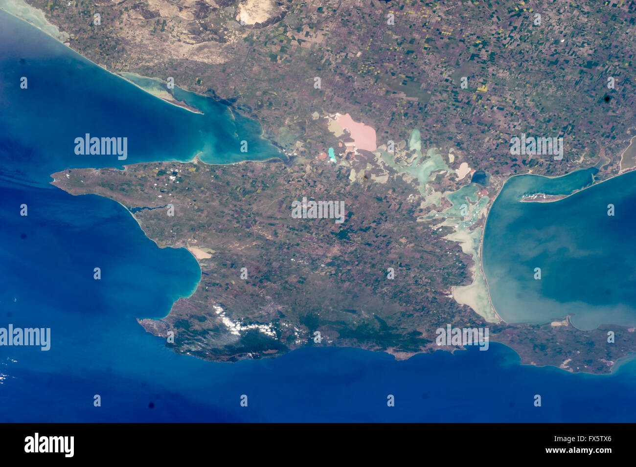 The diamond-shaped Crimean Peninsula that juts into the Black Sea seen from above by the astronauts on the International - Stock Image
