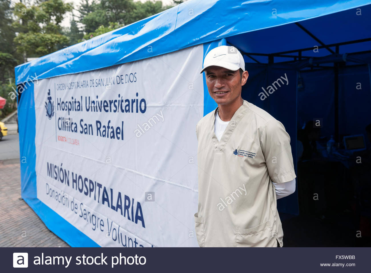 Bogota Colombia Blood donation tent near the University. - Stock Image