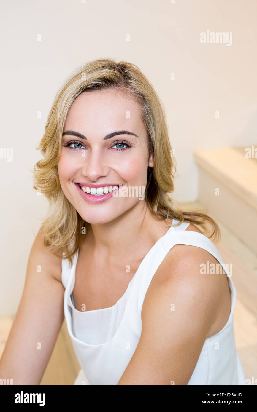 Portrait of beautiful woman smiling - Stock Image