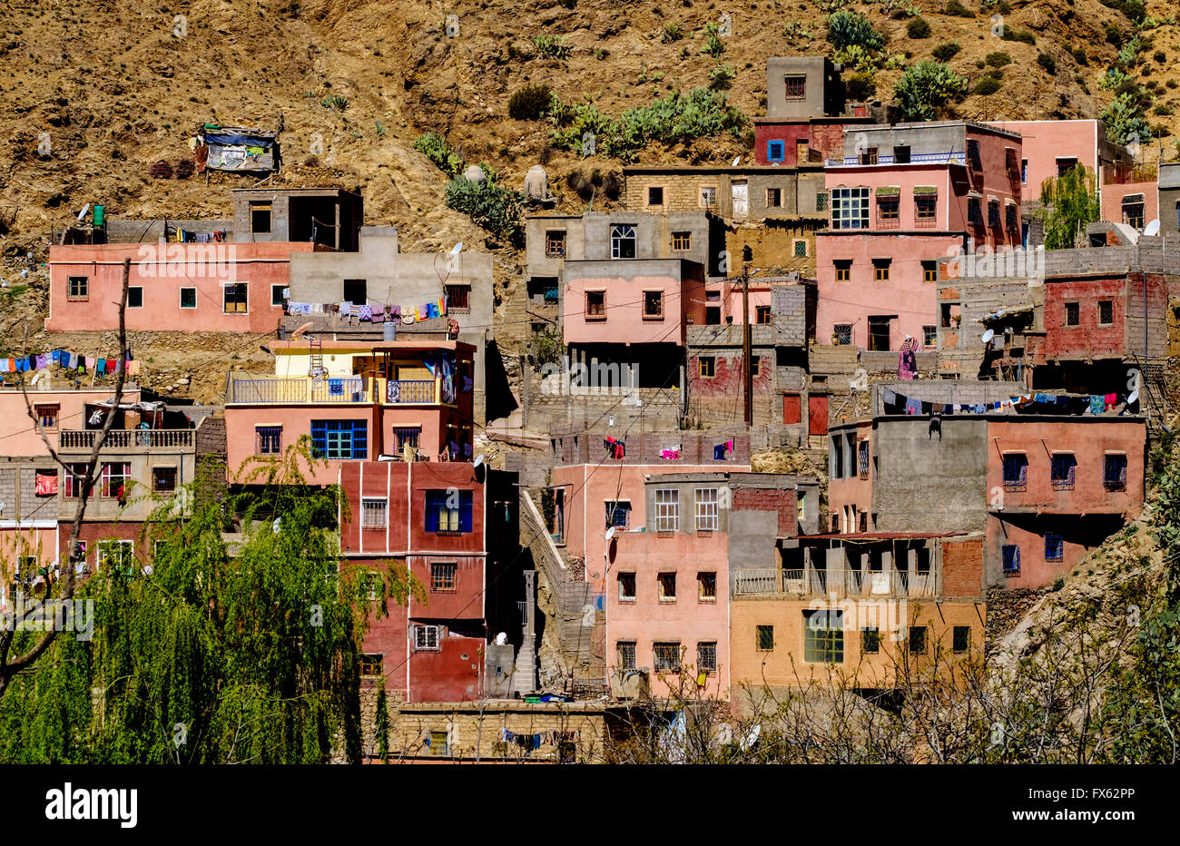 The village of Setti-Fatma in the foothills of the Atlas Mountains in the Ourika Valley, Morocco, North Africa - Stock Image
