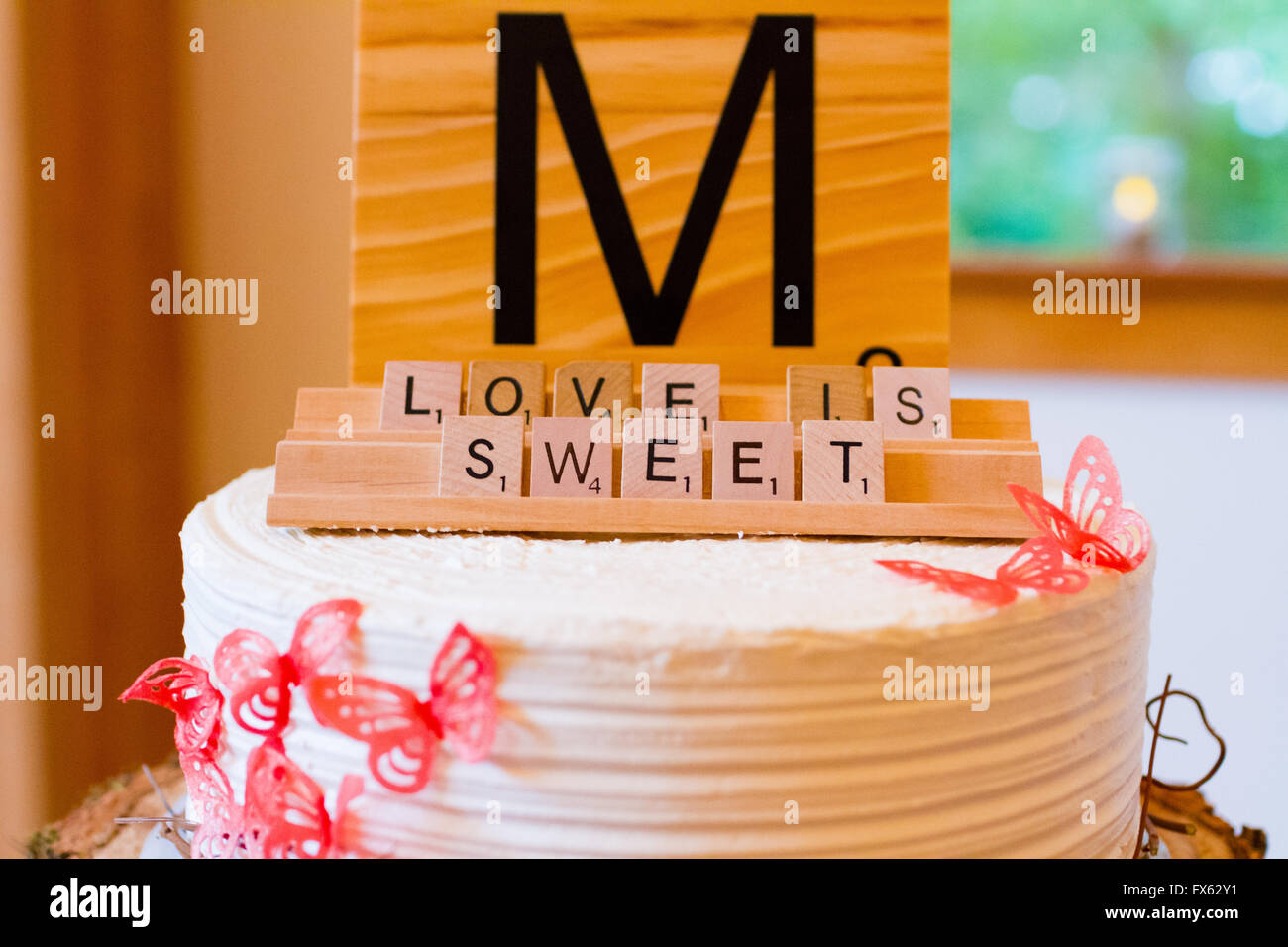 Scrabble Letters At A Wedding Reception Are Used As Decor To