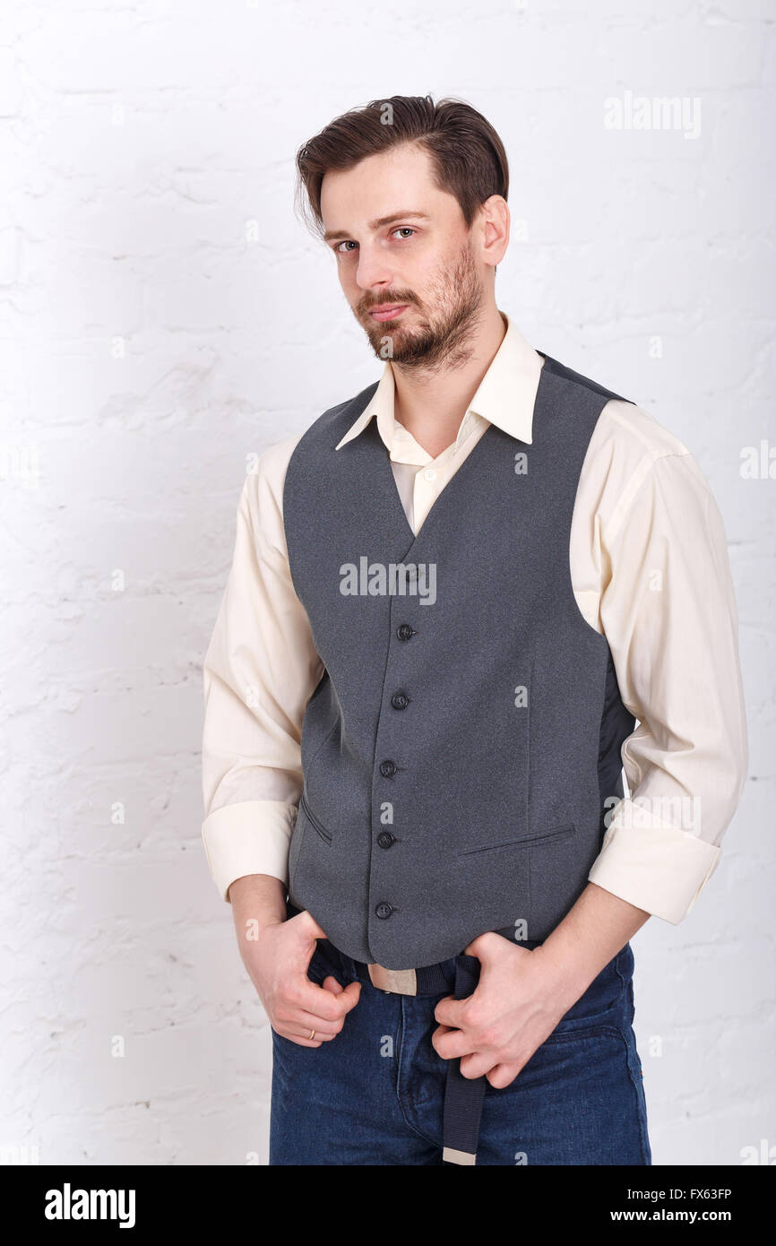 Young Romantic Man In Vest And Jeans Men S Fashion Man Put His